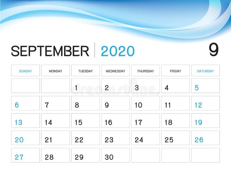 EN SEPTIEMBRE DE 2020 plantilla del año, vector 2020, diseño del calendario del calendario de escritorio, comienzo de la semana ilustración del vector
