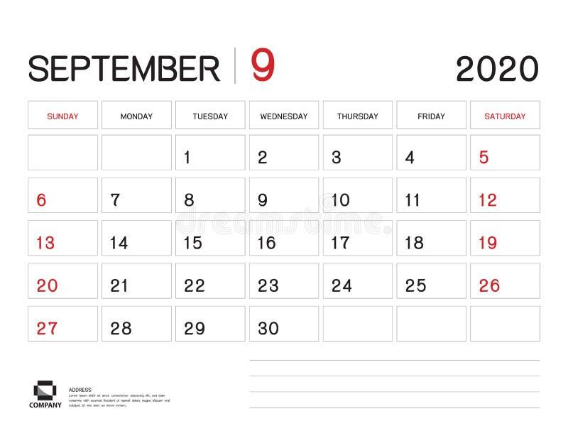 EN SEPTIEMBRE DE 2020 plantilla del a?o, vector 2020, dise?o del calendario del calendario de escritorio, comienzo de la semana e ilustración del vector