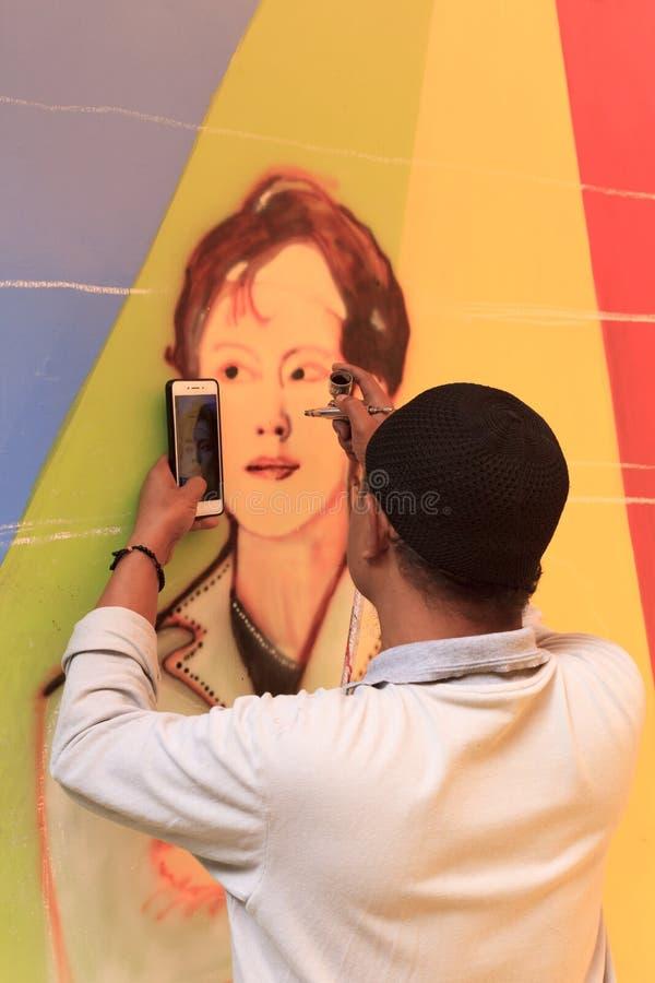 En septiembre de 2018 Street Art en Kampung Warna Warni Jodipan Malang, Indonesia fotos de archivo