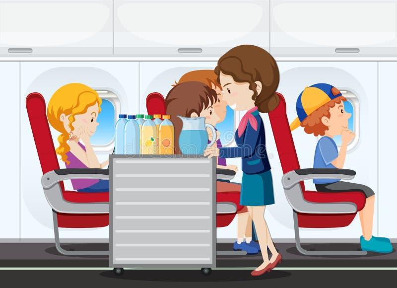 En service på flygplanet stock illustrationer