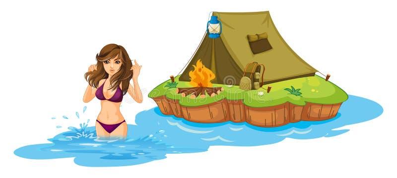 En sexig flickasimning nära ön med ett campa tält royaltyfri illustrationer