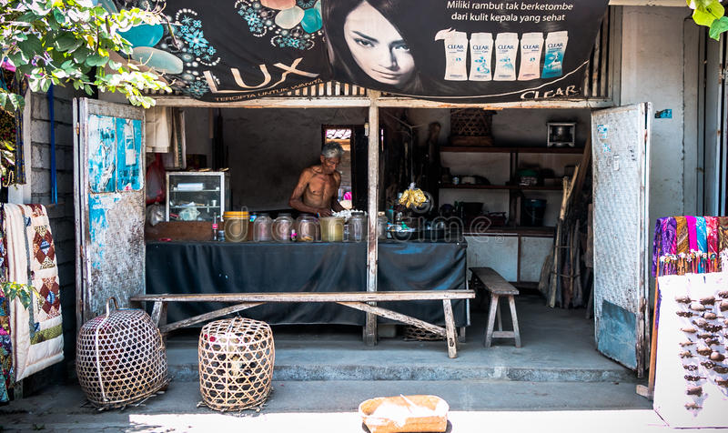 En shoppa längs gatan i Bali arkivfoto