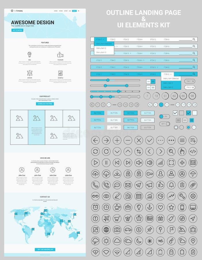 En sidaWebsite och UI-beståndsdellinje symbolssats vektor illustrationer