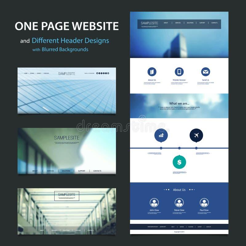 En sidaWebsitemall och olika titelraddesigner med suddiga bakgrunder vektor illustrationer