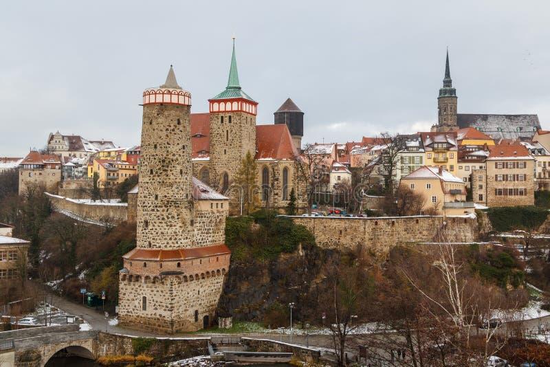 En sikt över den historiska delen av den Bautzen staden, Sachsen arkivbilder