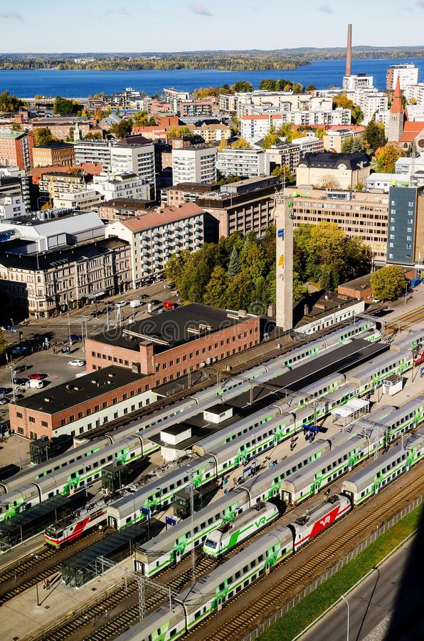 En sikt över järnvägsstationen från Tammerfors, Finland royaltyfria bilder