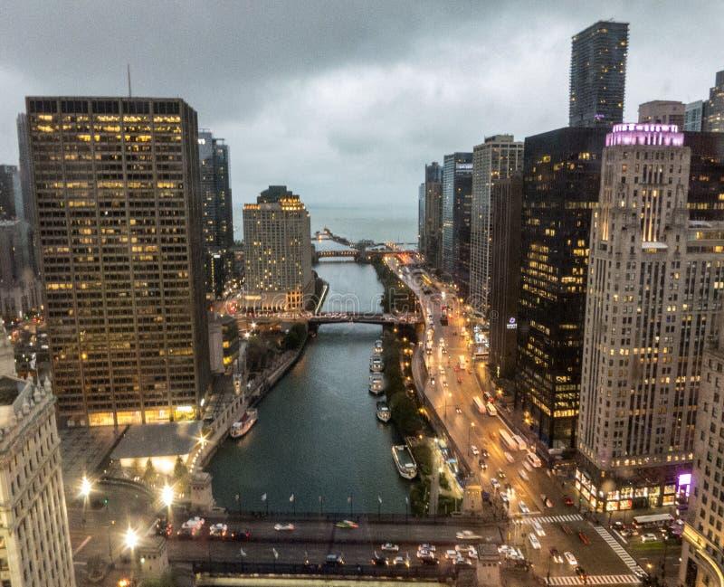 En sikt av Chicagoet River royaltyfria bilder