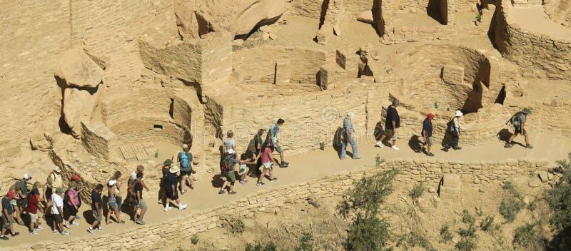En sikt av Cliff Palace, Mesa Verde National Park arkivbilder