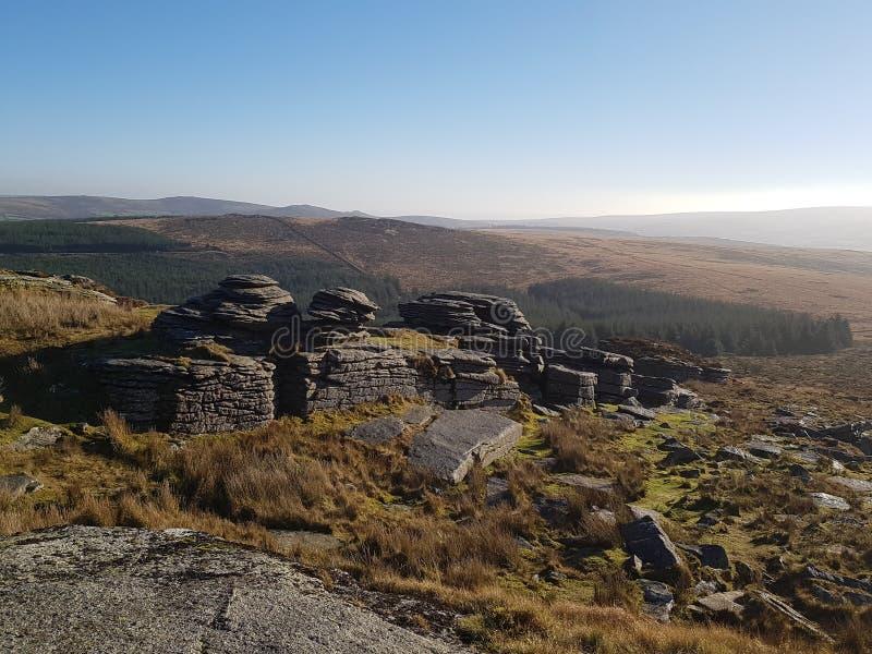 En sikt av Dartmoor från övre höjdpunkt arkivbild