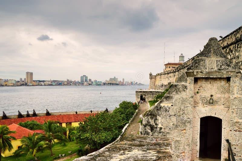En sikt av den historiska mitten av havannacigarren och den Malecon invallningen från fästningen av El Morro, till och med havska arkivfoton
