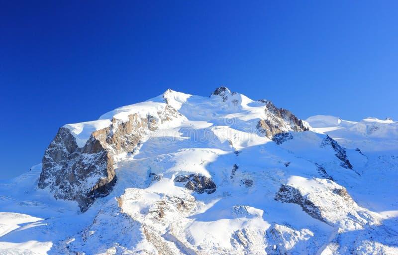 En sikt av den Monte Rosa massiven från Gornergrat Fjällängarna, Schweiz royaltyfri foto