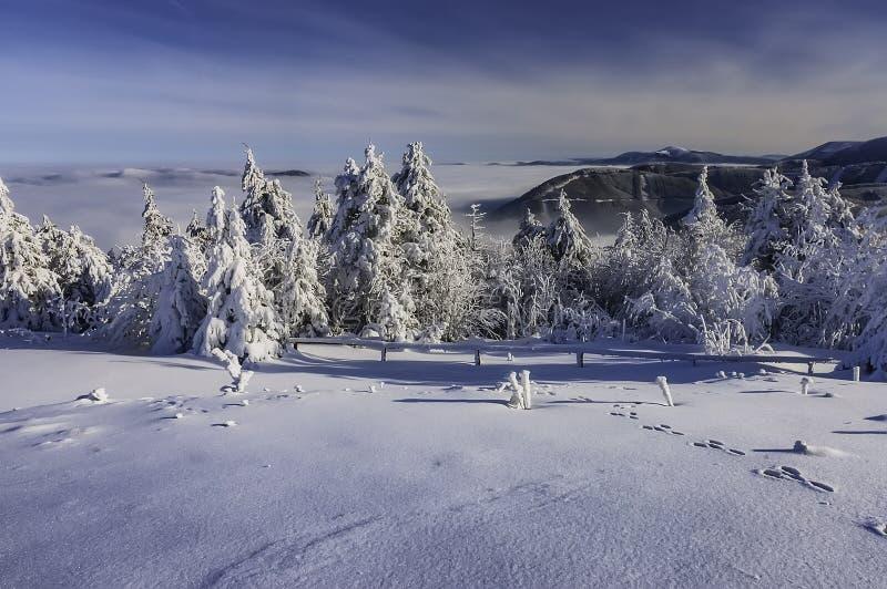 En sikt av ett vinterlandskap uppifrån av det Radhost berget arkivfoton