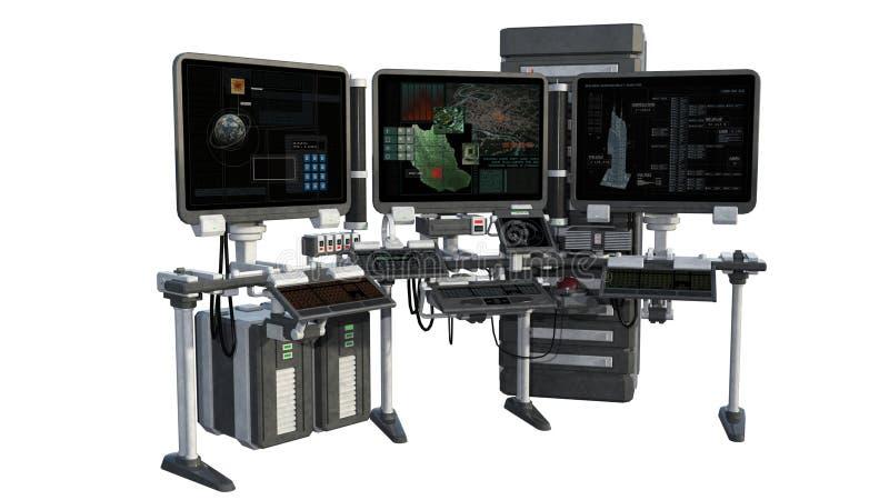 En sikt av forskningutrustning med bildskärmar, datorer royaltyfri illustrationer