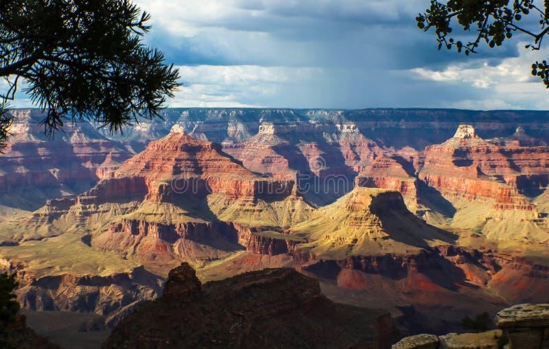 En sikt av Grand Canyon med vaggar bildande som markeras av solen på en mulen dag som inramas av träd i förgrunden royaltyfria bilder