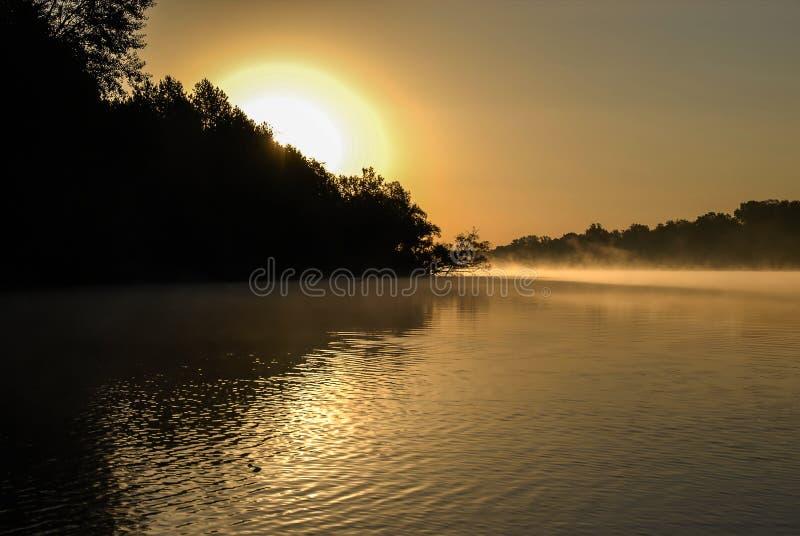 En sikt av en gul soluppgång under den lugna dimmiga floden arkivfoton