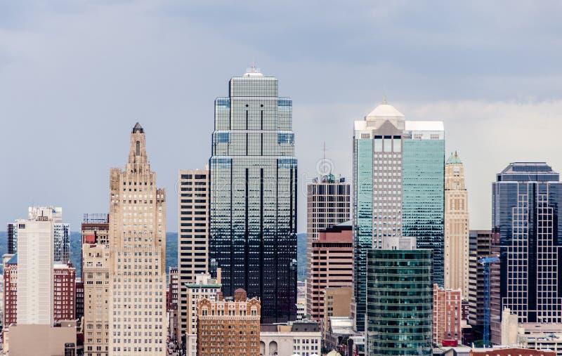 En sikt av i stadens centrum Kansas City royaltyfria foton