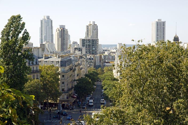 En sikt av Paris från Buttes Chaumont parkerar Paris Frankrike arkivbild
