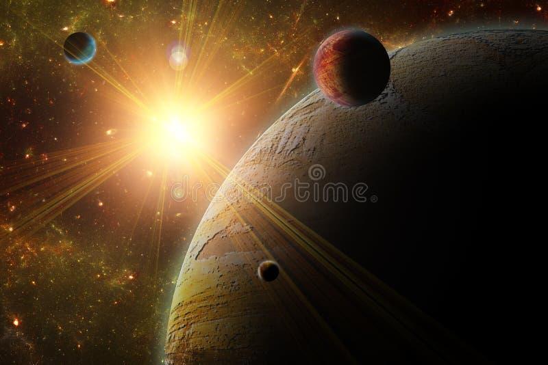 En sikt av planeten, månar och det djupa utrymmet. royaltyfri illustrationer