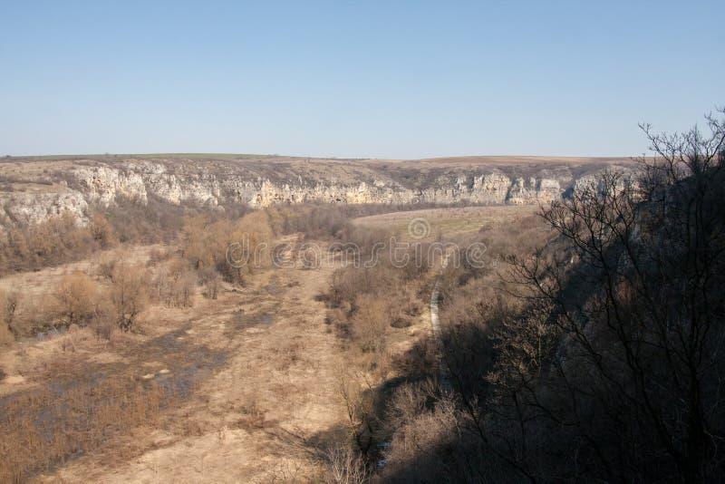 En sikt av Rusenski Lom den naturliga kanjonen nära Russe, Bulgarien, Europa royaltyfri foto