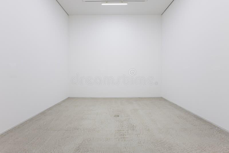 En sikt av en vit målade inre av ett tomt rum eller en konstgalleri med en fluorescerande belysning och trägolv royaltyfri bild