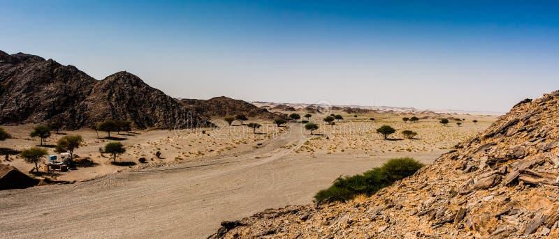 En sikt av Wadi Massal på den norr ingången, Riyadh landskap, Saudiarabien royaltyfria bilder