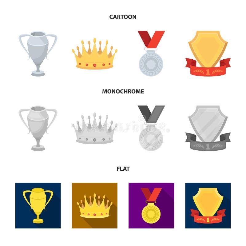 En silverkopp, en guld- krona med diamanter, en medalj av pristagaren, ett guld- tecken med ett rött band Utmärkelser och troféup stock illustrationer