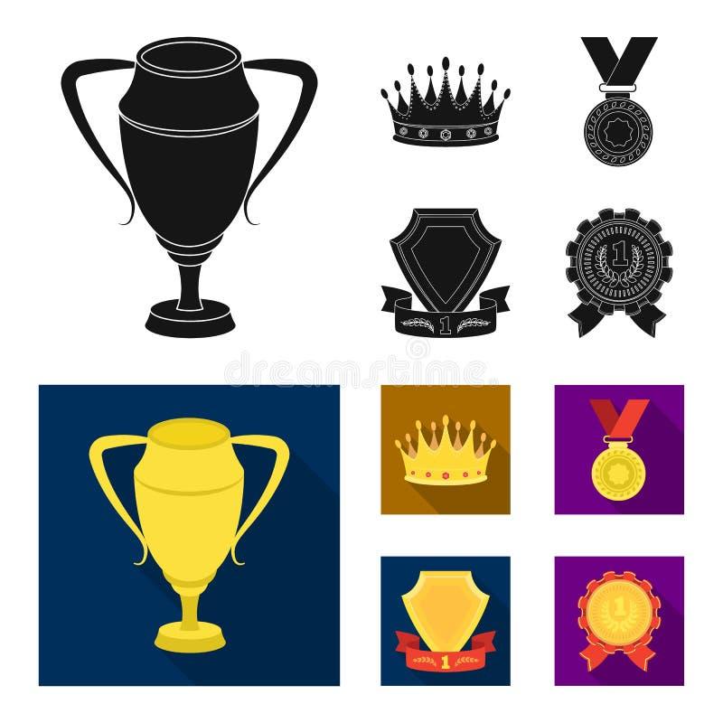En silverkopp, en guld- krona med diamanter, en medalj av pristagaren, ett guld- tecken med ett rött band Utmärkelser och troféup royaltyfri illustrationer