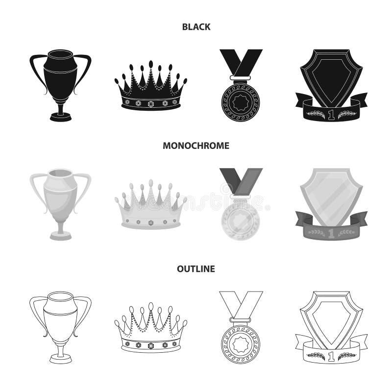 En silverkopp, en guld- krona med diamanter, en medalj av pristagaren, ett guld- tecken med ett rött band Utmärkelser och troféup vektor illustrationer