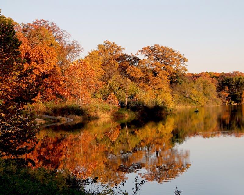 En sjö under nedgång med träd som reflekterar av vattnet arkivfoto