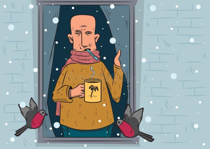 En sjuk man står nära ett fönster och ser snöfallet 0 för illustrationversion för 8 tillgängliga eps vinter 10 eps royaltyfri illustrationer