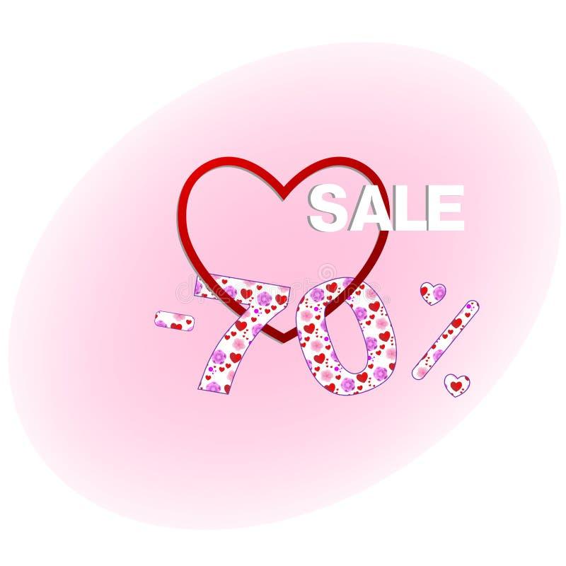 En sjuttio procent rabatt till valentin daghängningar som enkedja på en hjärta vektor illustrationer