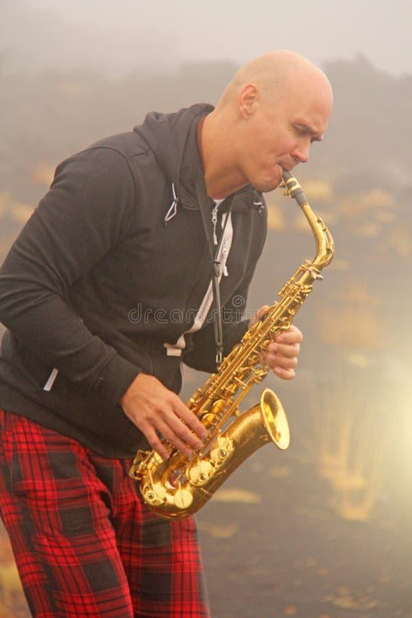 En skallig man spelar på en guld- alt- saxofon i naturen, mot royaltyfri bild