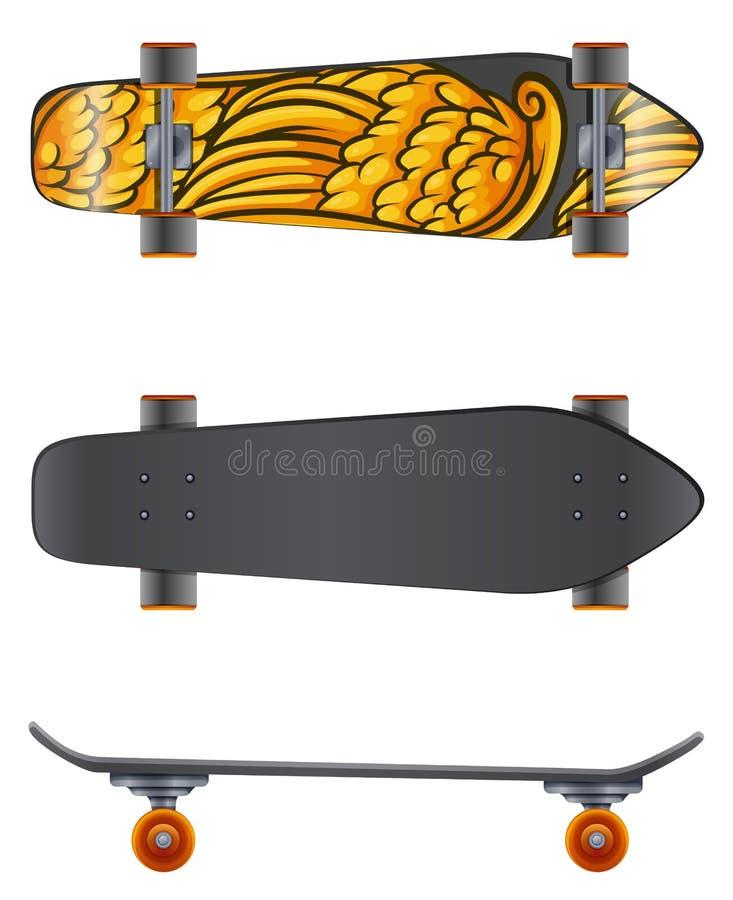 En skateboard i olika vinklar royaltyfri illustrationer