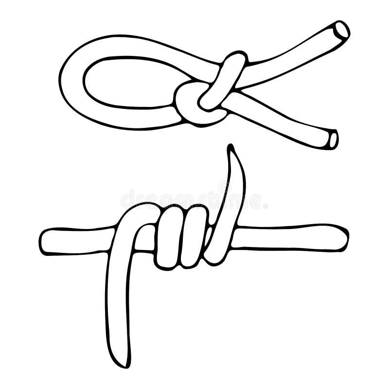 En skissa av den försåg med en hulling fnuren av repet och - tråd stock illustrationer