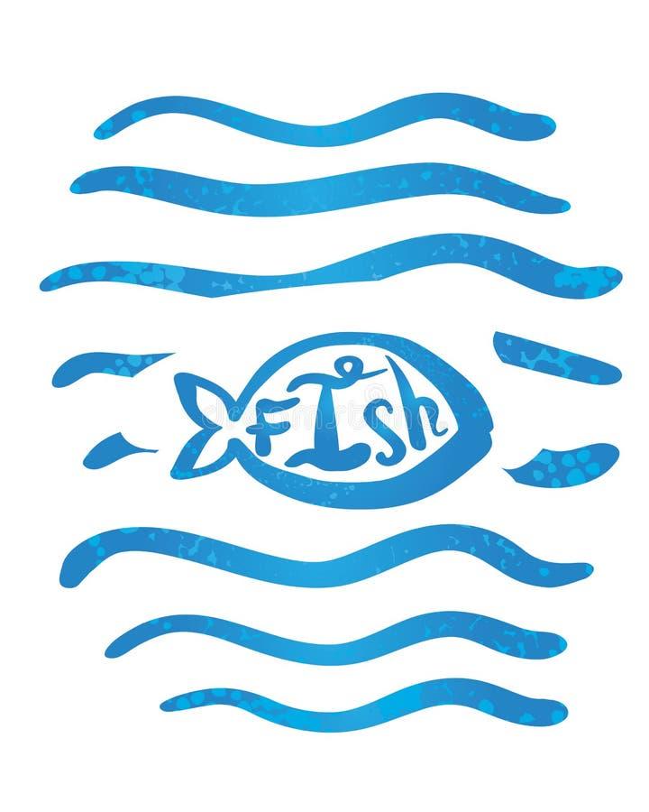 En skissa av en fisk och en enkel text stock illustrationer