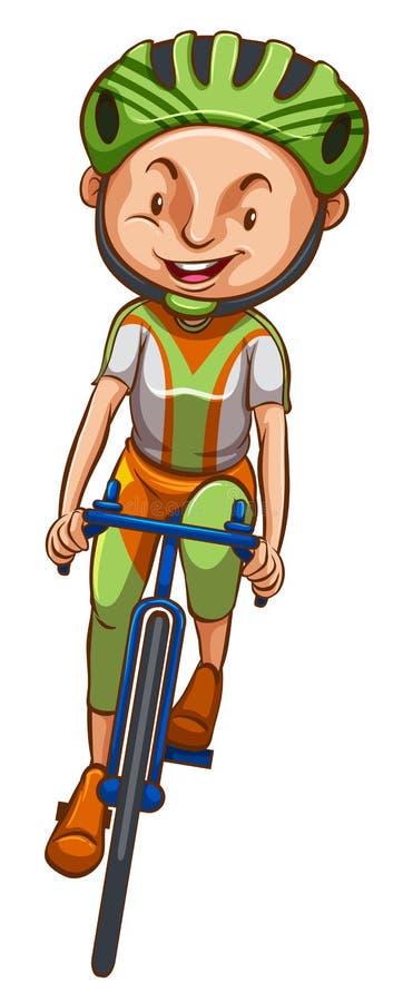 En skissa av en pojke som rider en cykel stock illustrationer