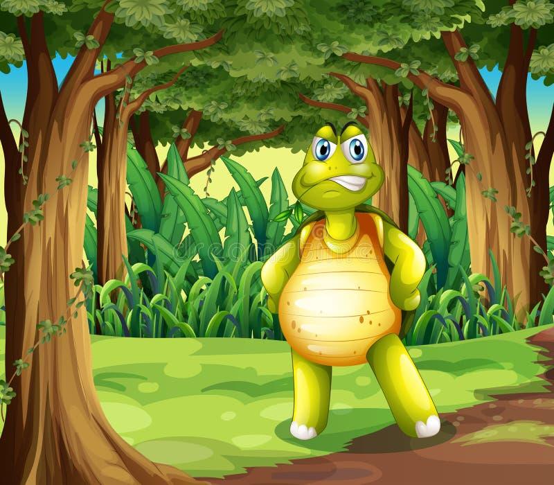 En skog med ett sköldpaddaanseende i mitt av träden royaltyfri illustrationer