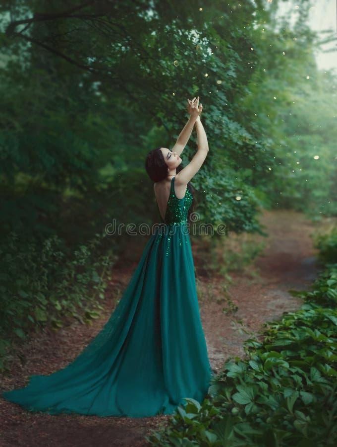 En skognymf, en dryad i ett lyxigt, smaragdklänning, går i skogprinsessan med sunt, långt svart hår arkivbilder