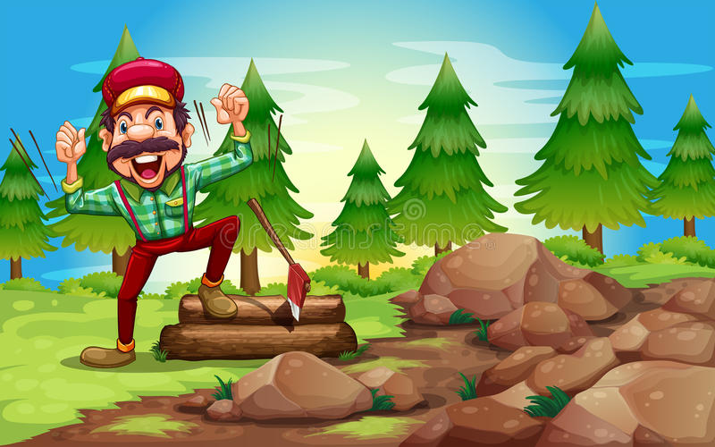 En skogsarbetare i skogen nära sörjaträden vektor illustrationer