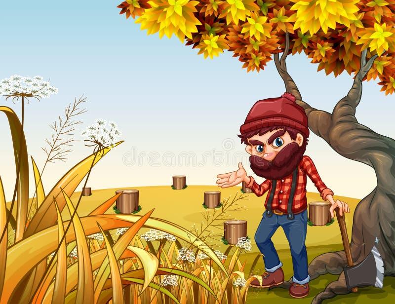 En skogsarbetare med ett skarpt yxaanseende nära det gamla trädet vektor illustrationer