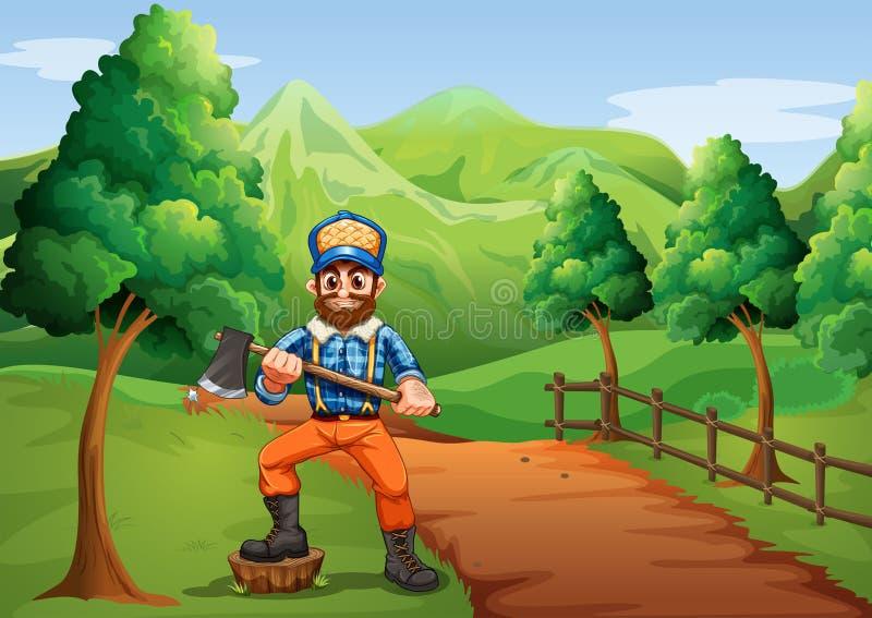 En skogsarbetare nära vägen som bär en yxa royaltyfri illustrationer