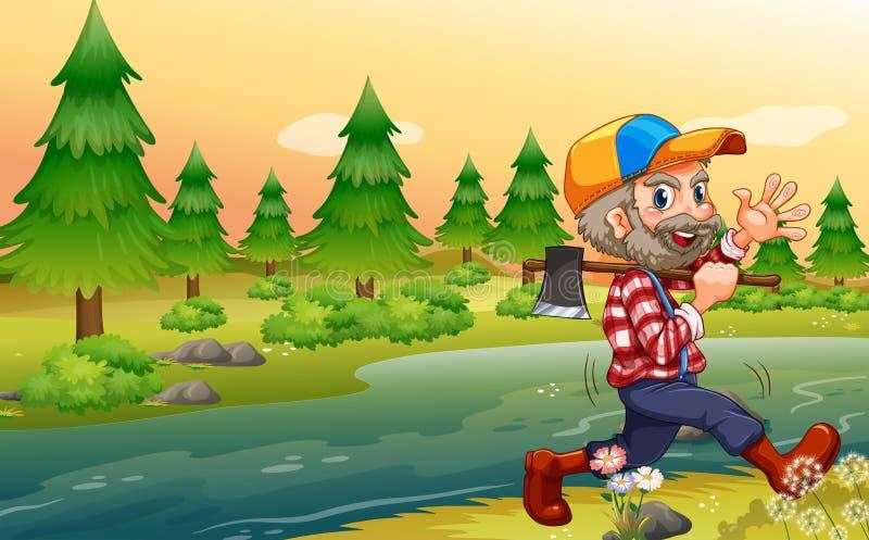 En skogsarbetare som bär en yxa, medan gå vektor illustrationer