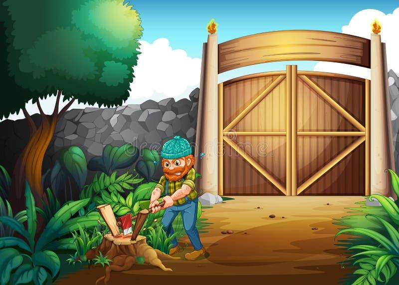 En skogsarbetare som hugger av trän vektor illustrationer