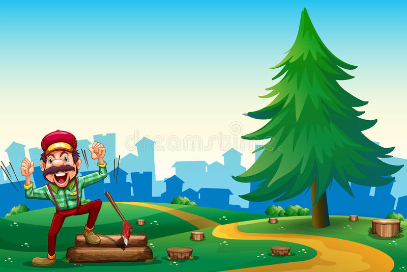 En skogsarbetare som hugger av trän på bergstoppet nära sörjaträdet royaltyfri illustrationer