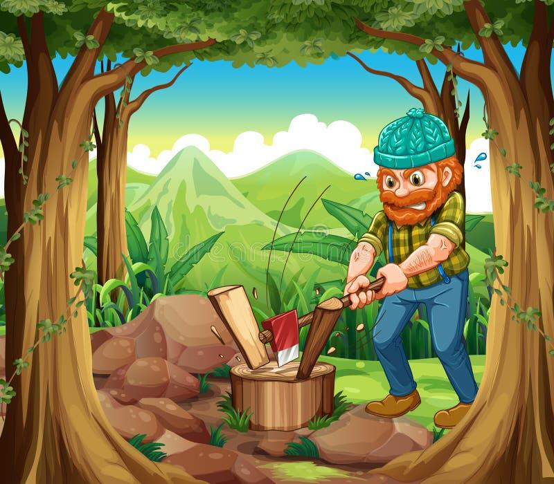 En skogsarbetare som hugger av träna i skogen nära, vaggar stock illustrationer