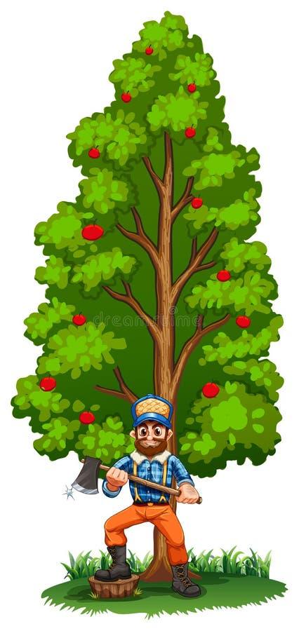 En skogsarbetare under det högväxta trädet stock illustrationer