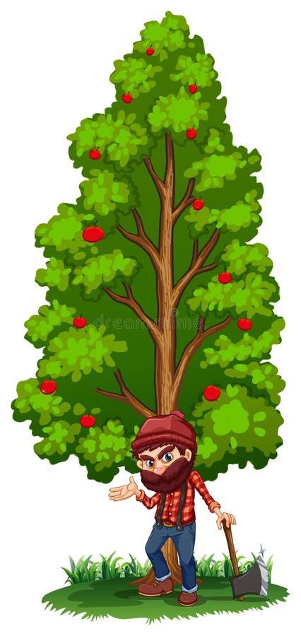 En skogsarbetare under trädet med en yxa stock illustrationer