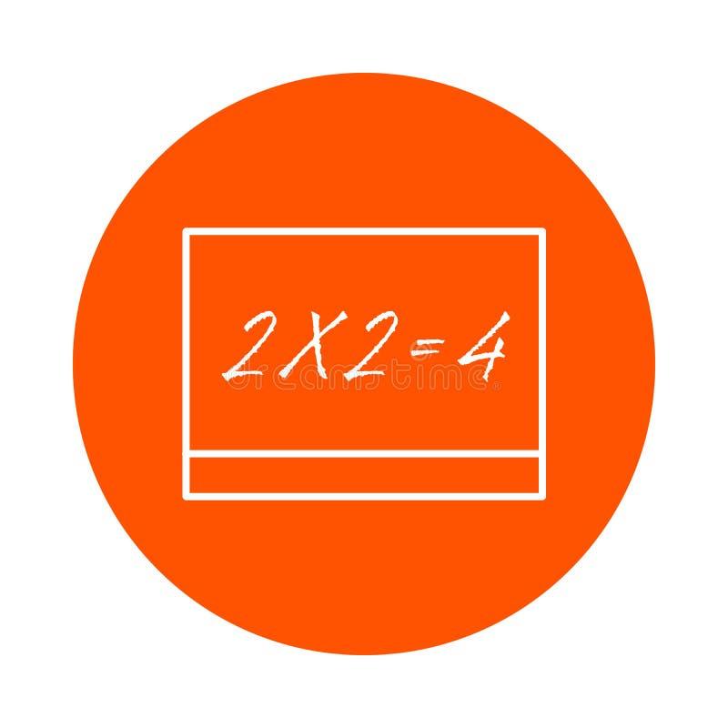 En skolförvaltning med en inskrift - två gånger två är jämbördiga till fyra, en rund linje symbolen, enkel färgändring, en plan s stock illustrationer