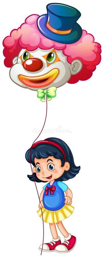 En skolflicka som rymmer en clownballong royaltyfri illustrationer