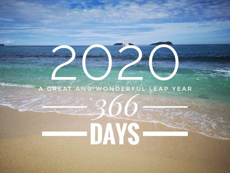 2020 en skottår med extra en dag på Februari 29th och 366 dagar i mån- kalender med havbakgrund royaltyfria bilder